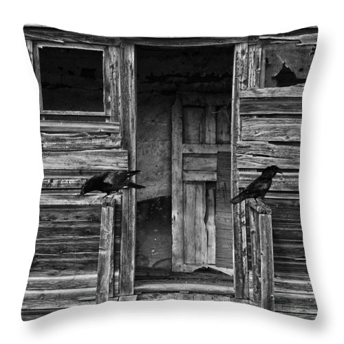 Crows Throw Pillow featuring the photograph Death To The Wind by The Artist Project
