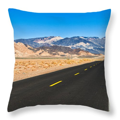 Landscape Throw Pillow featuring the photograph Death Valley Rd by Alyaksandr Stzhalkouski