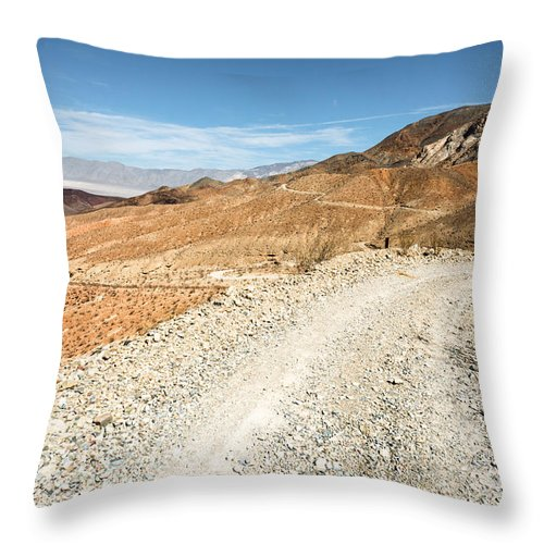 Landscape Throw Pillow featuring the photograph Death Valley Road by Alyaksandr Stzhalkouski
