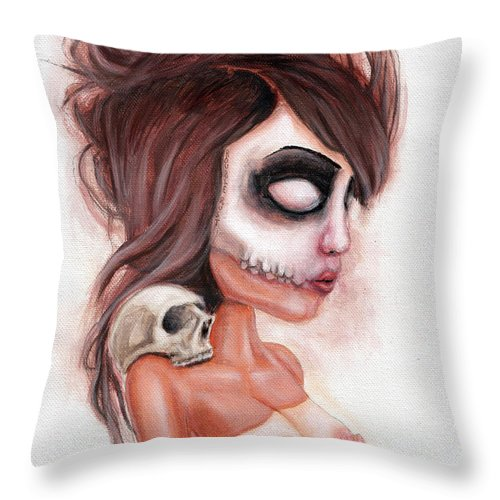 Pop Surrealism Throw Pillow featuring the painting Deathlike Skull Impression by Rouble Rust