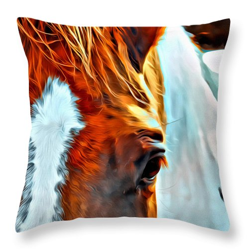 Horse Head Paint Pinto Eye Throw Pillow featuring the photograph Debbies Paint by Alice Gipson