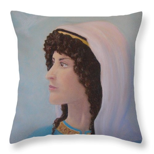 Prophetess Throw Pillow featuring the pastel Deborah  Prophetess And Judge by Lynn Quinn