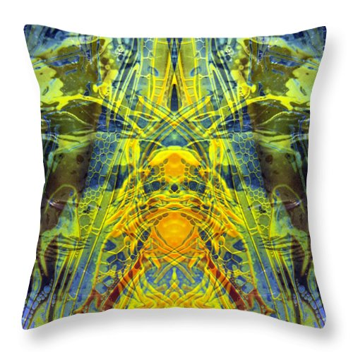 Surrealism Throw Pillow featuring the digital art Decalcomaniac Intersection 1 by Otto Rapp