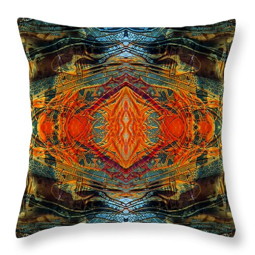 Surrealism Throw Pillow featuring the digital art Decalcomaniac Intersection 2 by Otto Rapp