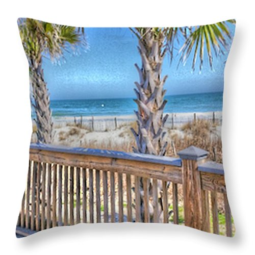 Deck On The Beach-landscape Throw Pillow featuring the photograph Deck On The Beach by Gayle Price Thomas