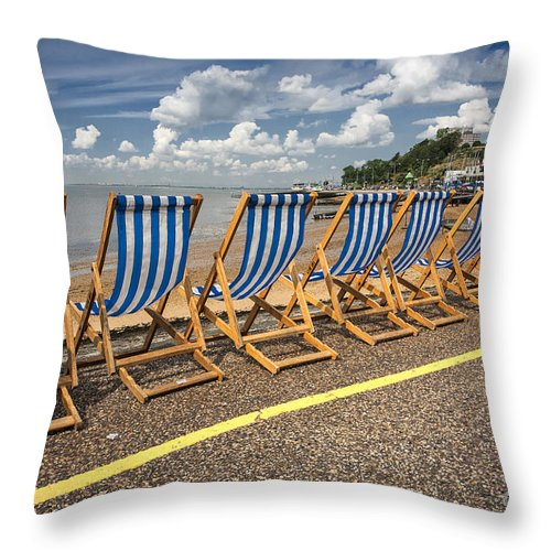 Empty Deckchairs Throw Pillow featuring the photograph Deckchairs at Southend by Sheila Smart Fine Art Photography