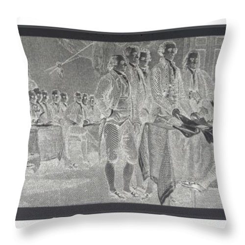 Declaration Of Independence Throw Pillow featuring the photograph Declaration Of Independence In Negative by Rob Hans
