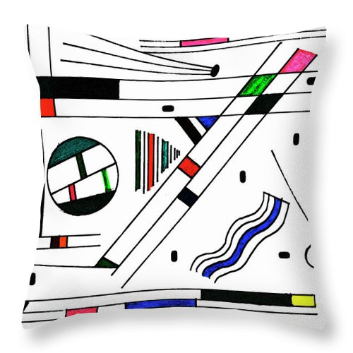 Ink Throw Pillow featuring the drawing Deco 1 by Mary Bedy