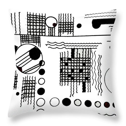 Black Throw Pillow featuring the drawing Deco 5 by Mary Bedy