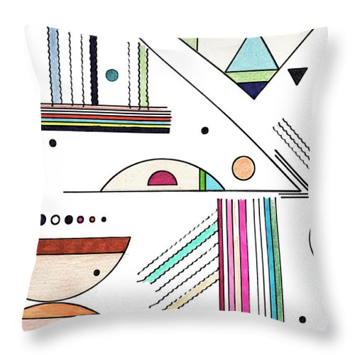 Drawing Throw Pillow featuring the drawing Deco 8 by Mary Bedy
