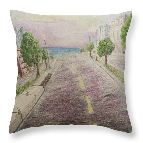Miami Art Deco Animation Background Cartoon Landscape Throw Pillow featuring the painting Deco Drive by Brenda Salamone