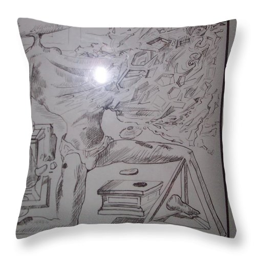 Throw Pillow featuring the painting Decomposition Of Kneeling Man by Jude Darrien