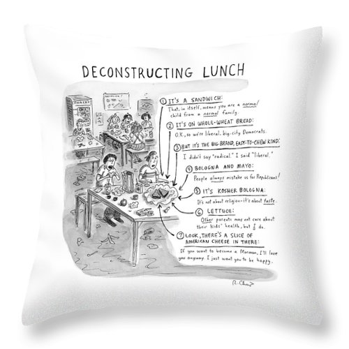 Sandwiches Throw Pillow featuring the drawing Deconstructing Lunch by Roz Chast