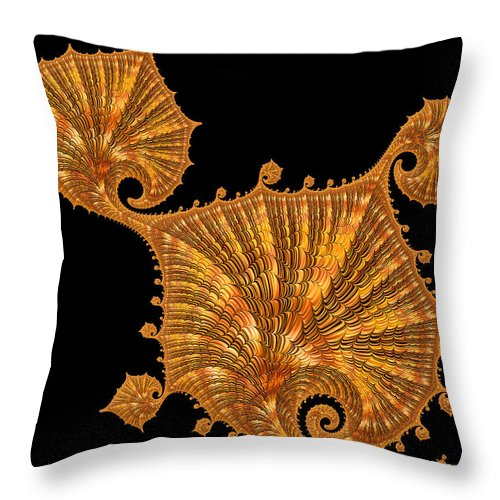 Gold Throw Pillow featuring the digital art Decorative Golden Floral Fractal Leaves by Matthias Hauser