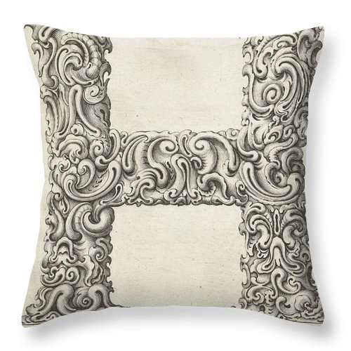 H Throw Pillow featuring the photograph Decorative Letter Type H 1650 by Georgia Fowler