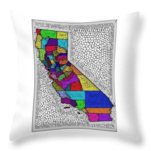 California Digital Art Throw Pillow featuring the painting Decorative Map Of California by Nikki Keep