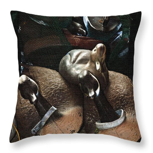 Geese Throw Pillow featuring the photograph Decoys by Laura Mace Rand