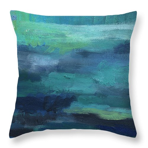 Blue Throw Pillow featuring the painting Tranquility- abstract painting by Linda Woods