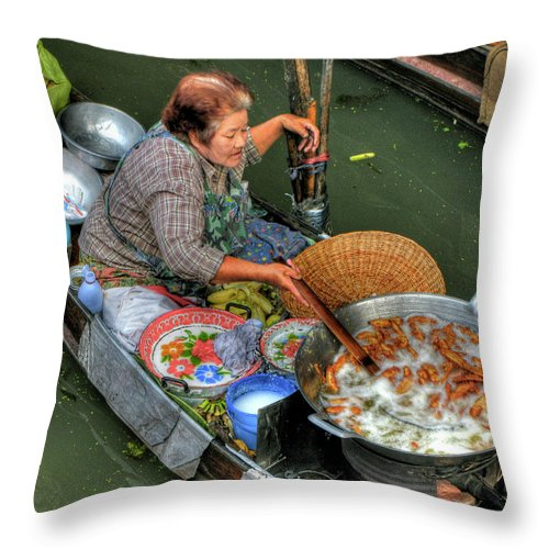 Thai Woman Throw Pillow featuring the photograph Deep Fried Bananas by Douglas J Fisher