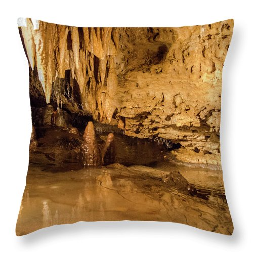 Stalactite Canvas Prints Throw Pillow featuring the photograph Deep In The Cave by Jonah Anderson