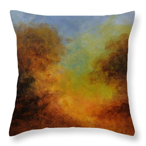 Hudson River School Throw Pillow featuring the painting Deep In The Hedgerow by Kim Sobat