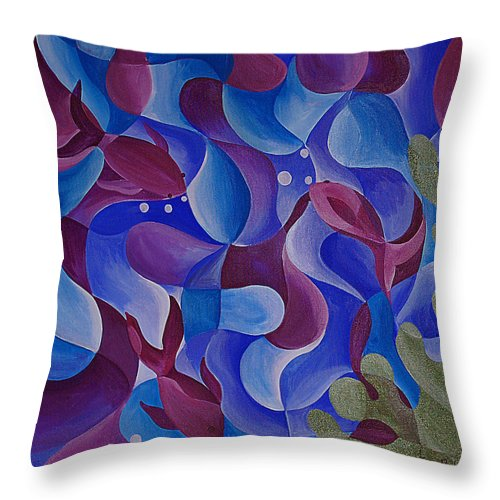 Fish Throw Pillow featuring the painting Deep Sea by Tiffany Budd