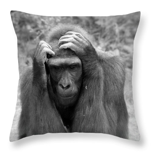 Gorilla Throw Pillow featuring the photograph Deep Thoughts by Lisa L Silva