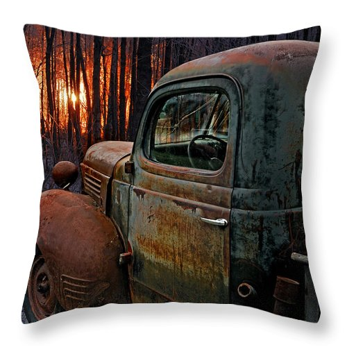 Pickup Throw Pillow featuring the photograph Deer Hunting by Ron Day