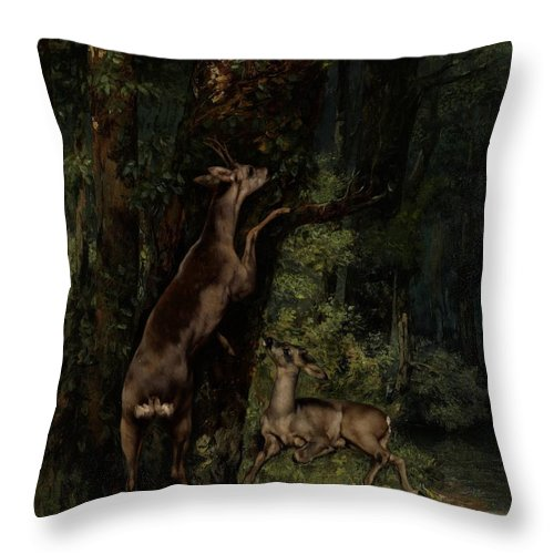 Deer; Animal; Animals; Forest; Wood; Woods; Woodland; Wooded; Trees; Tree; Eating; Reaching; Wild; Realist Throw Pillow featuring the painting Deer In The Forest by Gustave Courbet