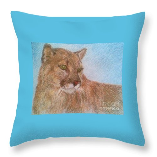Deer Tiger Soft Pastel Drawing Paper Wild Cat Throw Pillow featuring the drawing Deer Tiger by Nadi Sabirova