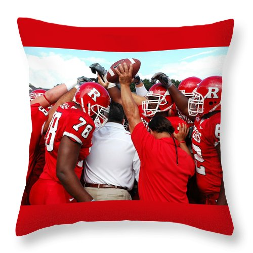 Rutgers Throw Pillow featuring the photograph Defensive Huddle by Allen Beatty
