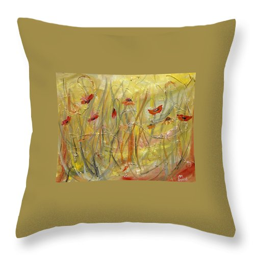 Acrylic Throw Pillow featuring the painting Delicate Poppies by Dorothy Maier