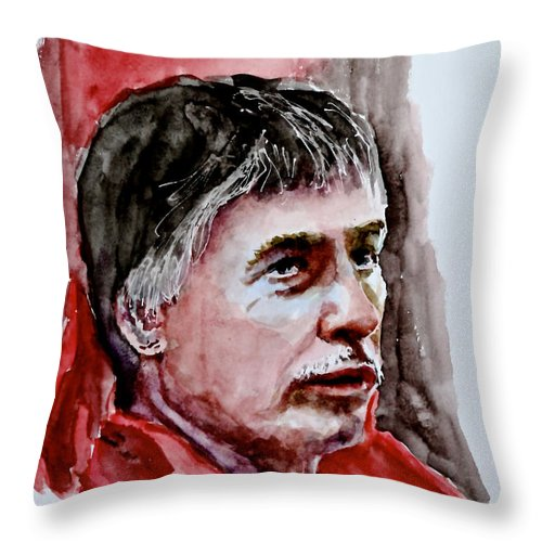 Portrait Throw Pillow featuring the painting Delwin by Don Schroeder