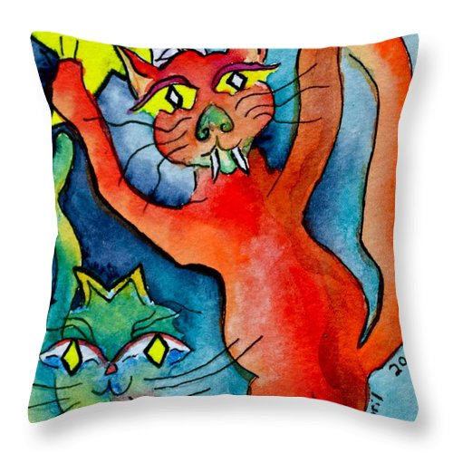 Demon Throw Pillow featuring the painting Demon Cats Reach by Beverley Harper Tinsley