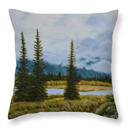 Usa Throw Pillow featuring the painting Denali Morning by Mary Rogers