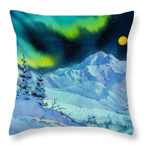 Denali Night Throw Pillow featuring the painting Denali Night In Square by Teresa Ascone