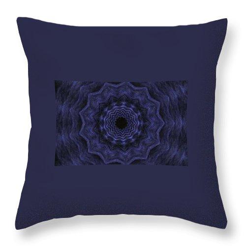 Denim Throw Pillow featuring the photograph Denim Blues Mandala - Digital Painting Effect by Rhonda Barrett