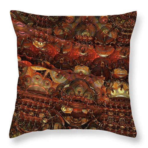 Fractal Hell Haedes Underworld Fantasy Imagination Abstract Detailed Intricate 3d Mandelbulb Throw Pillow featuring the digital art Dens Of Haedes by Lyle Hatch