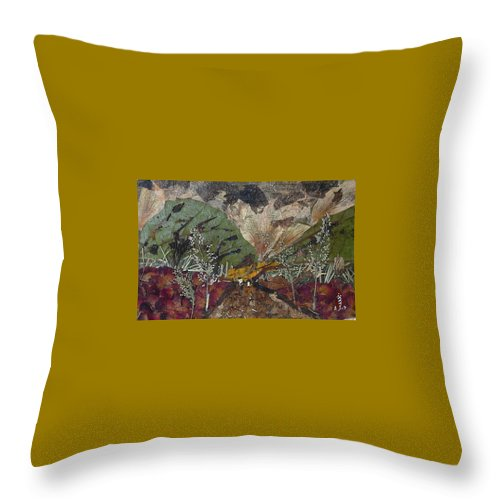 Mountain Road Throw Pillow featuring the mixed media Dense Cloudy Weather by Basant Soni