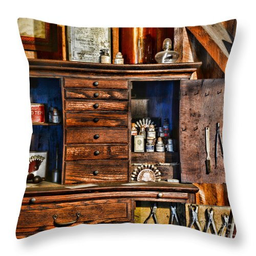 Paul Ward Throw Pillow featuring the photograph Dentist - A Place For Dental Tools by Paul Ward
