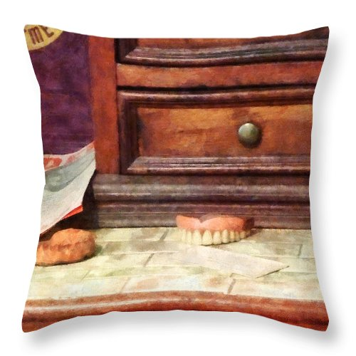 Dentures Throw Pillow featuring the photograph Dentist - Dentures by Susan Savad