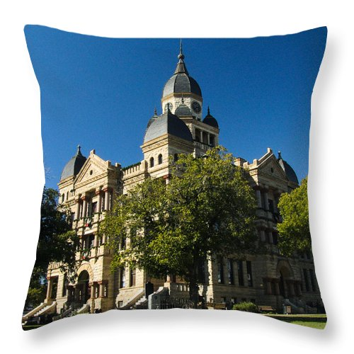 Courthouse Throw Pillow featuring the photograph Denton County Courthouse by Allen Sheffield