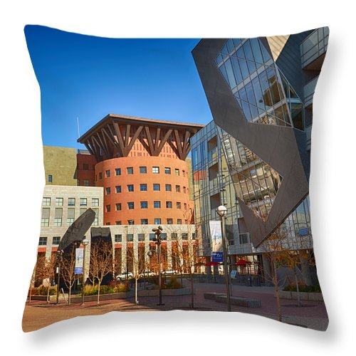 Downtown Throw Pillow featuring the mixed media Denver Art Museum Courtyard by Angelina Vick