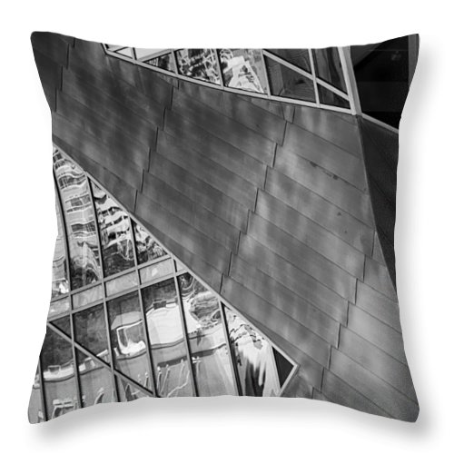 Downtown Throw Pillow featuring the mixed media Denver Diagonals Bw by Angelina Vick