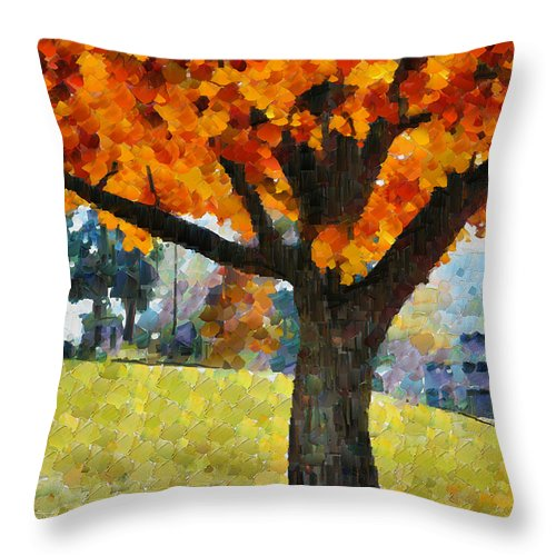 Denver Throw Pillow featuring the mixed media Denver Park 5 by Angelina Vick