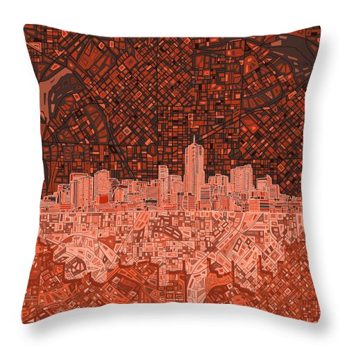 Denver Skyline Throw Pillow featuring the painting Denver Skyline Abstract 6 by Bekim M
