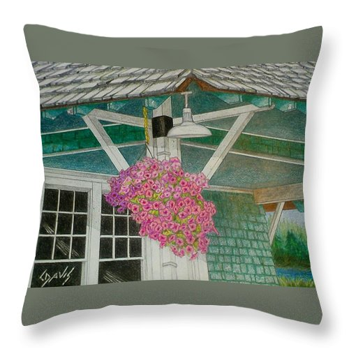 Color Pencil Throw Pillow featuring the drawing Depot by Lew Davis