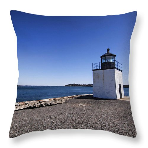 Lighthouse Throw Pillow featuring the photograph Derby Wharf Lighthouse by K Hines
