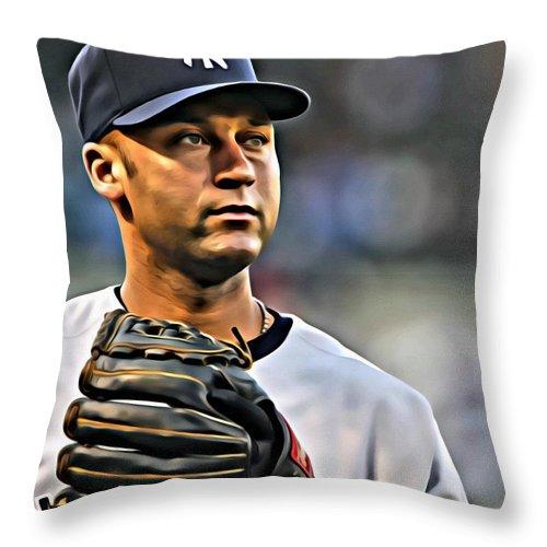 Derek Jeter Throw Pillow featuring the painting Derek Jeter Portrait by Florian Rodarte
