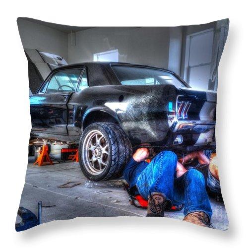 Car Throw Pillow featuring the photograph Derek's Mustang by Janna and Kirk Davis